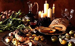 Фотографии Натюрморт Хлеб Вино Свечи Бокалы Пища