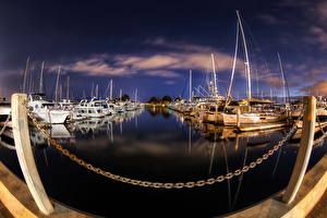 Обои Корабль Америка Берег Пристань Небо Катера HDR Ночь Облака Сан-Диего Калифорнии