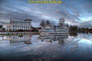 Картинки Корабль Германия Реки Небо Облака HDRI Иккермюнде