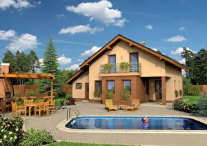 Обои Здания Небо Ландшафтный дизайн Особняк Бассейны Лежаки Облака Окно Дизайн Города 3D_Графика