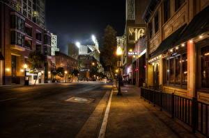 Фото США Дороги Ночные Уличные фонари Тротуар Улиц HDR Асфальт Сан-Диего Калифорнии город