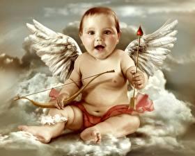 Фото Грудной ребёнок Взгляд Крылья Купидона Облако ребёнок