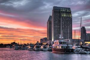 Картинки Штаты Здания Корабли Катера Небо Облачно HDR Сан-Диего Калифорнии город