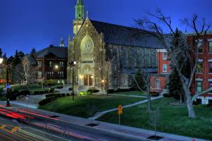 Фотография США Дороги Нью-Йорк Улиц В ночи Газон HDR University Heights город