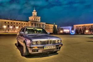 Фотография BMW Фары Спереди HDR Ночь авто Города