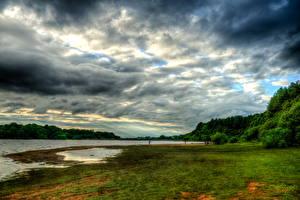 Картинка Реки Небо Англия Трава Облачно Дуглас Horwich Природа