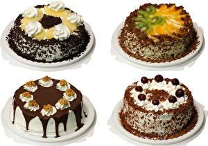 Фотографии Торты Шоколад Белый фон Еда