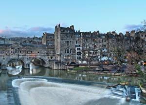 Фото Мосты Реки Дома Англия HDR Pulteney Bridge Bath Города