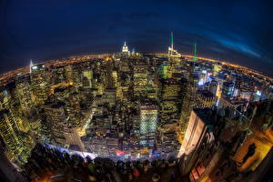 Фотографии Америка Небоскребы Дома Нью-Йорк Ночь Сверху HDRI Горизонта Мегаполиса город