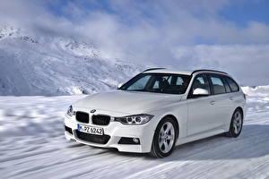 Фотография BMW Белых Фары Снег 320 d машины