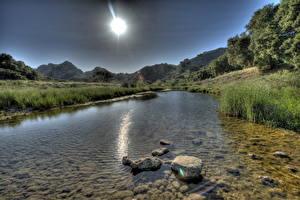 Фото Реки Америка Камень Лучи света HDRI Калифорнии Малибу Природа