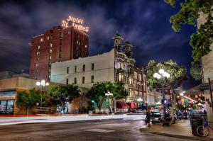 Фотография Штаты Дома Дороги Отель Улица Уличные фонари Ночью HDRI Сан-Диего Калифорнии город