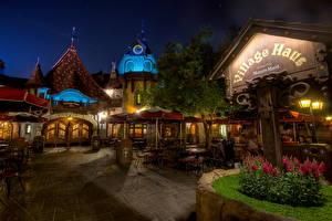 Фотографии США Диснейленд Ночь Улица Кафе Калифорния