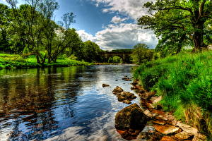 Обои Реки Англия Пейзаж Траве HDRI Bolton Wharfe Природа