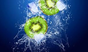 Картинки Фрукты Киви Вода Капли Продукты питания