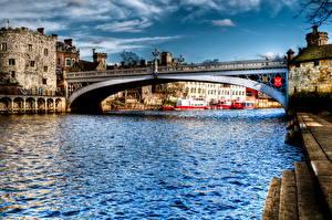 Фотография Мосты Реки Англия HDRI Водный канал Lendal Ouse York Города