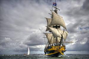 Фотография Корабль Парусные Небо Облако