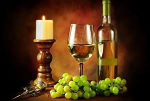 Обои Натюрморт Свечи Виноград Вино Бокалы Еда