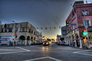 Фото Америка Дороги Здания Улиц HDRI Асфальт Калифорния Southern  город