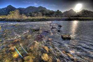 Фото Река Камни США Лучи света HDR Калифорния Малибу Природа