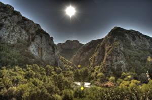 Фото Горы США Лучи света Кустов HDR Калифорния Малибу Природа