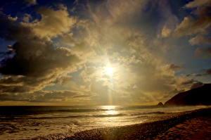 Картинка Побережье Море Небо Штаты Облачно Горизонта Калифорнии Малибу Природа