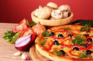 Фото Натюрморт Пицца Грибы Оливки Пища Еда