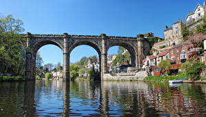 Фотографии Мосты Река Англия Knaresborough Viaduct Harrogate Города