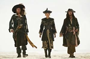 Картинки Пираты Карибского моря Пираты Карибского моря 3 - На краю Света Джонни Депп Джеффри Раш Фильмы