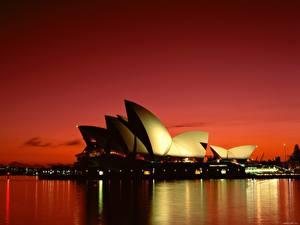Фото Известные строения Австралия Небо Рассветы и закаты Города