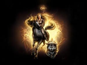 Картинки Лошадь Волки Фэнтези Девушки Девушки