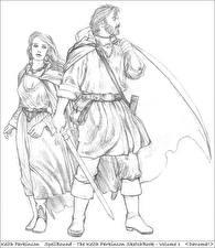 Картинки Keith Parkinson Мужчины Воин Рисованные С мечом Фантастика Девушки