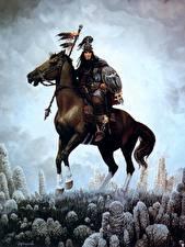 Фотографии Кит Паркинсон Лошади Воин Щит С копьем