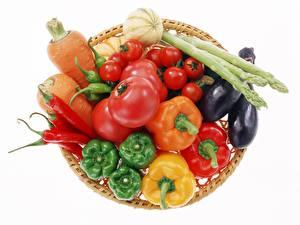Фото Овощи Белый фон Продукты питания