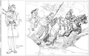 Картинка Keith Parkinson Рисованные Мужчина Лошади С копьем