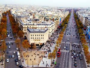 Фото Дома Франция Дороги Осень Париж Улица Елисейские Поля Города