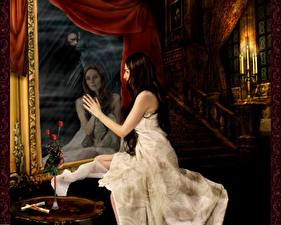 Картинки Зеркало Отражении Фэнтези Девушки