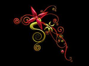 Обои Растения Узоры Черный фон 3D Графика